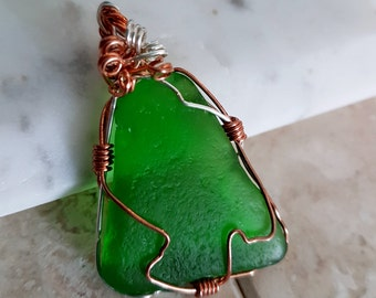 Green Genuine Sea Glass/ Mermaid Tears Wire Wrapped with Copper and Sterling Silver Wire Pendant or Necklace