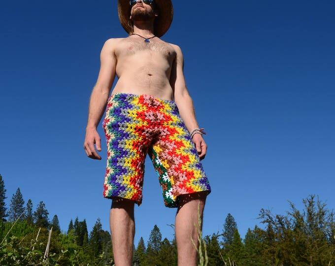 Crochet Board Shorts Psychedelic Rainbow Chevrons XL