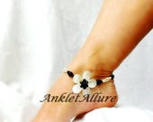 Island Girl Flower Anklet Beach Ankle Bracelet Black Anklet Shell Jewelry Double Anklet