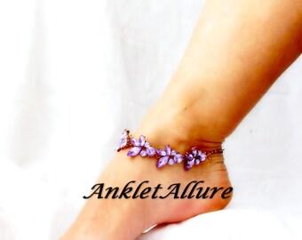 Purple Rhinestone Anklet Bridal Ankle Bracelet Bridal Jewelry Body Jewelry Garter Ceremony Foot Jewelry Bridal Shower Gift