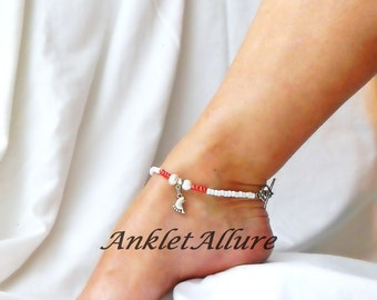 Rose Beach Ankle Bracelet Foot Anklet Pearl Charm Bracelet Fetish Foot Jewelry