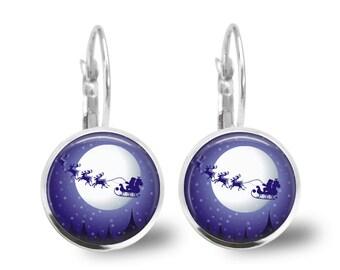 Christmas Earrings Santa Earrings Christmas Jewelry Tile Earrings Holiday Sleigh Jewelry Holiday Earrings Santa Jewelry Brass Jewelry