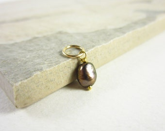 14k Gold Charms - June Birthstone Pearl Charm - Freshwater Pearl Jewelry - Potato Pearl Pendant - Brown Pearl - Sterling Silver Charms