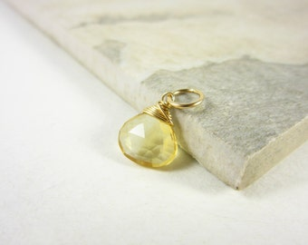 Genuine Citrine Jewelry - 14k Gold Charms - Natural Citrine Pendant - Wire Wrapped Gemstone Jewelry - Interchangeable Jewelry