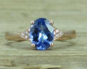 Tanzanite Engagement Ring, Rose Gold Antique Tanzanite Ring, Vintage Tanzanite Ring, December Birthstone Gold Ring, Tanzanite Rose Gold Ring