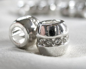 6 Silver Spacer large hole Accent Bead, with Clear Crystal Rhinestone Band, 10mm x 10mm, hole measures 5mm across, package of 6