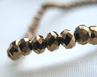 "18"" strand, Antique Gold Faceted Crystal Beads, 4mm x 3mm, 18"" strand, 100 beads"