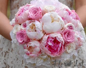 Silk peony wedding bouquet, Preserved roses wedding bouquet, Blush Pink Peony Wedding Bouquet, Bridal bouquet, Wedding bouquet - LOVE STORY