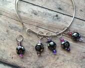 Luna Lovegood knitting stitch markers - set of 5 on a wire bracelet