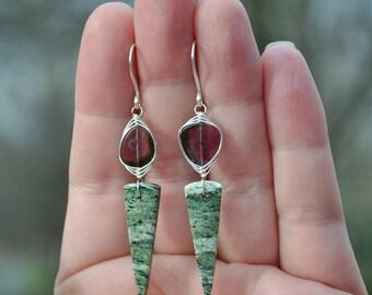 Watermelon Tourmaline Earrings, Luxe Watermelon Tourmaline Slice & Green Zebra Jasper Earrings, Boho Jasper Tourmaline Dangle Earrings