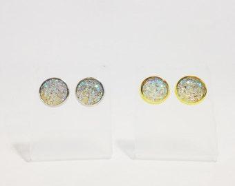 The Sugar Stud Earrings in Crystal | Crystal Glitter Earrings | Glitter Druzy Post Earrings | Crystal Druzy Earrings | Glitter Jewelry