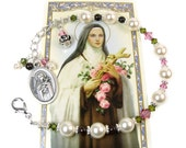 St. Therese of Lisieux Chaplet Bracelet, St. Theresa Chaplet, Religious Catholic Jewelry, Swarovski Pearls and Crystals, Italian Holy Medal