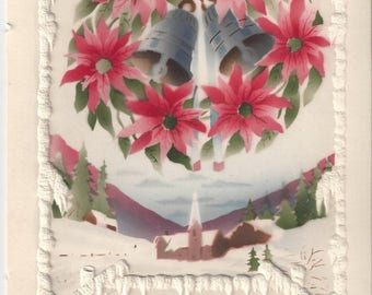 Vintage Christmas Greeting Card with Poinsettia & Bell Wreath, 1930s