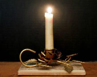 Vintage Italian Florentine Gold One Candle Candelabra / Candle Holder / French Decor