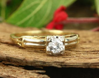 0.25 Cts Antique solitaire diamond ring original Victorian diamond engagement ring 14k, Round Diamond Solitaire Ring Yellow Gold
