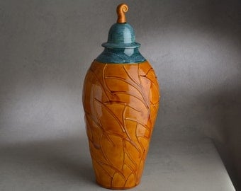 Lidded Jar Ready To Ship Brown and Green Lidded Jar by Symmetrical Pottery
