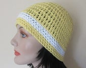 Yellow Cotton Hat, Spring Beanie, Summer Beanie, Women's Yellow Beanie