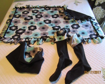 SET of Floral Stretch Fleece Boot Liners, Cowl Neck Warmer, and Throw from Darlas Closet