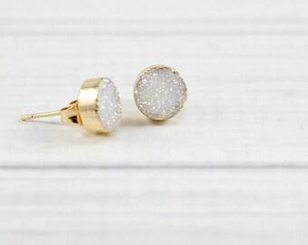 Druzy Studs, Druzy Earrings, Druzy Post Earrings, Druzy Stud Earrings, Bridal Earrings, Wedding Earrings,Bridesmaid Earrings,Druzy Jewelry