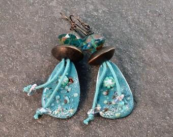 Nautical Bohemian Earrings Gypsy Hippie Earrings Enameled Copper Turquoise Wood Earrings