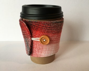 Coffee Cozy- Plaid Cotton Flannel Coffee Cup Sleeve- Red, Cream and Grey Ombre Plaid Reusable Coffee Sleeve