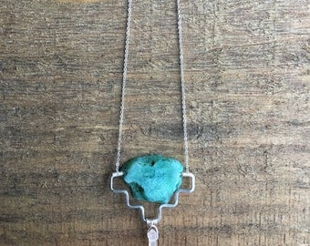 Agate Necklace <<Western Turquoise Necklace>> agate slab | sterling silver | silver plated chain | quartz pendant | handmade