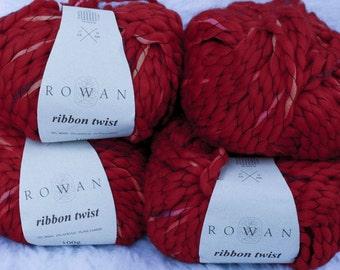 Red Wool Blend Rowan Ribbon Twist Bulky Yarn 100g 66 yds from England