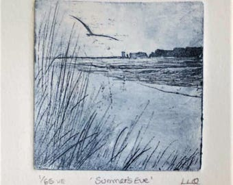 Original etching print of a coastal view beach ocean sea gull in flight