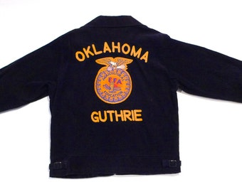 FFA Jacket with Owl Patch Vintage Guthrie Oklahoma Blue Corduroy Jeans Jacket Future Farmers America Club Jacket 1990s Mineral Wells Texas