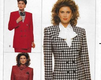 Butterick 6664 Women's 80s Petite Plaid Jacket Sewing Pattern Size 6, 8, 10. Bust 30 1/2, 31 1/2, 32 1/2