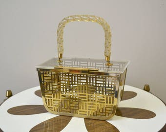 1950s Lucite and Metal Purse