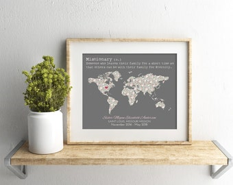 LDS Sister Missionary Map, Mission, Mormon, Missionary Homecoming, Farewell, Mission call, Mission Flag, 8x10, 11x14, 16x20, Missionary Gift