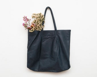 The Navy Leather Berlin Tote Bag | Oversized Leather Tote | Leather Shoulder Bag | Minimalist Leather Handbag in Navy Blue