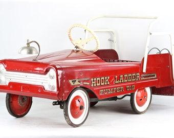 Vintage Fire Truck Pedal Car, Fire Truck Pedal Car, 1950's Fire Engine Pedal Car, 1950's Pedal Car, Hook And Ladder Pumper 519 Pedal Car