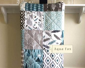 Fox Baby Quilt, Baby Quilt Handmade, Modern, Rustic Crib Bedding, Woodland Quilt, Bear, Aqua, Gray, Teal, Nursery Bedding, Minky, Blanket