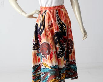 vintage circle skirt, 1950s southwest novelty print skirt