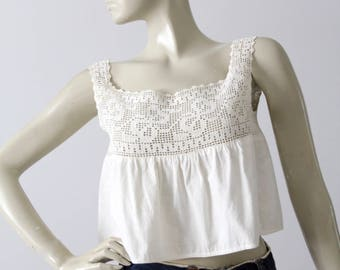 Victorian chemise, white cotton lace camisole, antique blouse