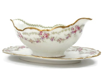 Limoges Gravy Boat with Plate - Sauce Boat, Swags of Pink Roses, Bawo & Dotter (Elite Works), Limoges France, Romantic Table Decor, c1890s