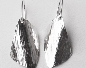 "Sterling Silver Earrings Medium Domed Trapezoid Handmade ""B"""