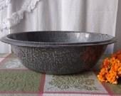 Vintage Graniteware Wash Basin Enamelware Dish Pan Rustic Farmhouse Kitchen Decor 1930s