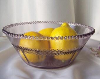 Vintage Purple Glass Bowl Sun Purple Beaded Rim Grandma's Bowl Serving Bowl Shabby Cottage Decor Vintage Decor Ca. 1900