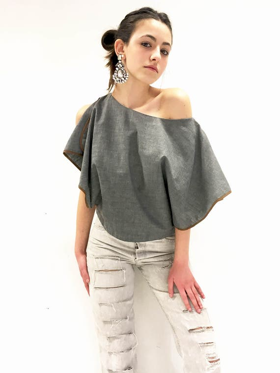 Shirt Blouse Gray Cotton LOLA DARLING Butterfly Sleeves Top with Bias in Brown Cotton Inventory Remaining Tissue Made in Italy One of a Kind
