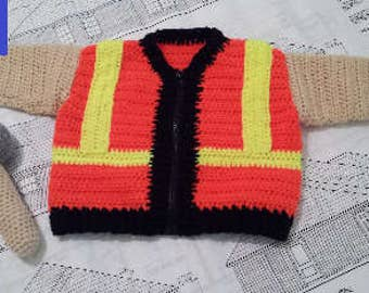 Construction Worker Safety Vest Baby Sweater crochet pattern, Newborn 3-6 or 9-12 month sizes with hammer rattle