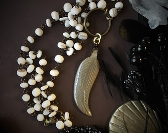Long Mother of Pearl Necklace with Feather Pendant