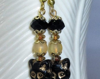 Women's Black Cat Czech Glass Earrings - Matte Druk Topaz Round Bead & Black Faceted Rondelle Bead on Gold. For any Cat Lover, I love Cats