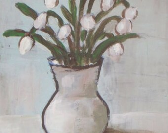 FREE SHIPPING - Original Acrylic Painting - white flowers painting - acrylic on paper - still life painting - floral kitchen art
