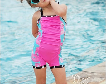 Marilyn Vintage Swimsuit PDF Sewing Pattern: Girls Vintage Swimsuit Pattern, Girls Retro Swimsuit Sewing Pattern