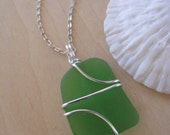 Bright Green Sea Glass Pendant Lime Green Beach Glass Necklace