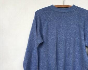 Vintage 80s Heather Blue Pullover Jumper Sweatshirt XS S