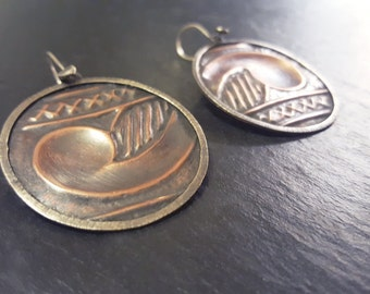 XXX - Copper and silver earrings.  art jewellery, modern remix unique jewelry, hand crafted celtic earrings